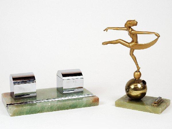 2: AN ART DECO GILDED METAL DANCER SMOKING ACCESSORY AN