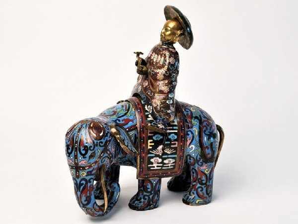 4: A CLOISONNE ELEPHANT AND RIDER