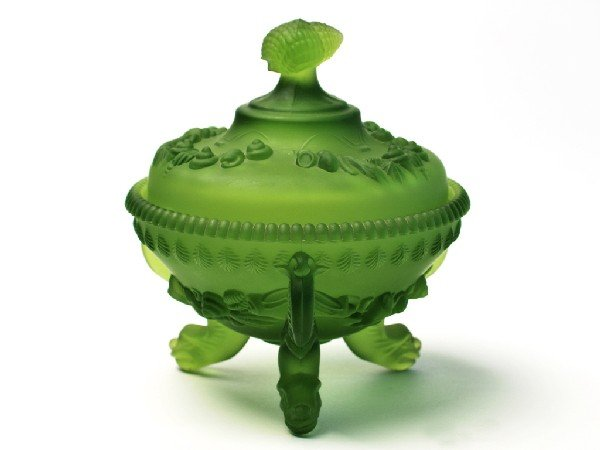 5: A FROSTED GREEN CANDY DISH