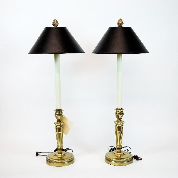 19: Pair of Brass Candlestick Style Lamps