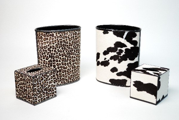 1: A COWHIDE AND A CHEETAH WASTE BASKET AND TISSUE DISP