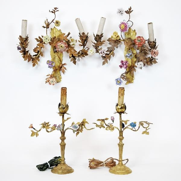 6: A PAIR OF GILT METAL AND PORCELAIN FLOWERED WALL SCO