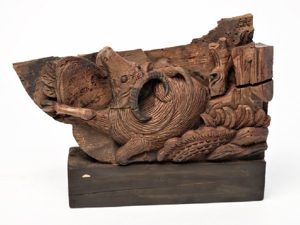9: AN ASIAN CARVING ON RECLAIMED WOOD