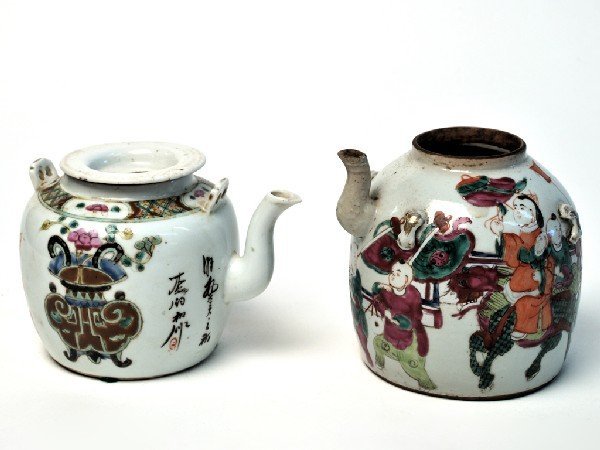 17: A PAIR OF ASIAN GLAZED CERAMIC TEA KETTLE