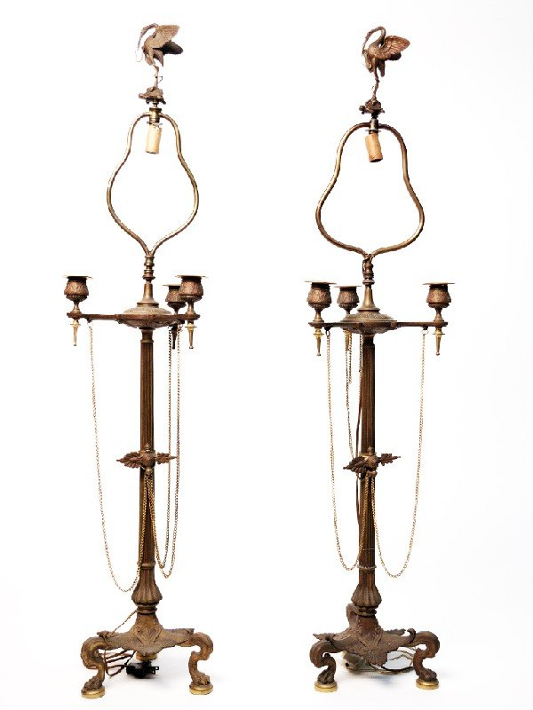 19: A PAIR OF BRASS TABLE LAMPS