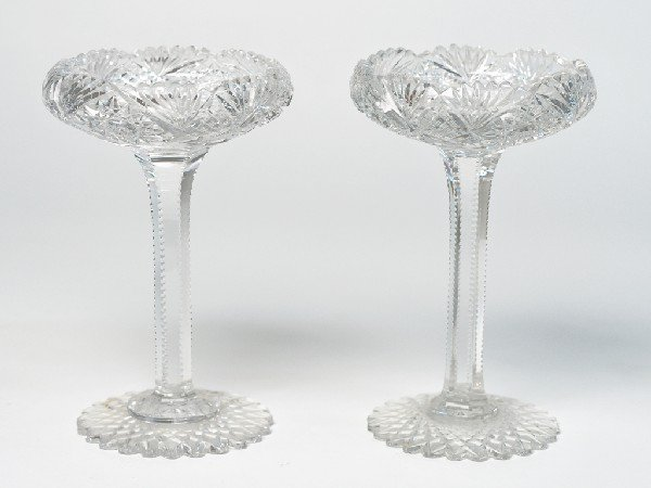 2: A PAIR OF CUT CRYSTAL PEDESTAL COMPOTES