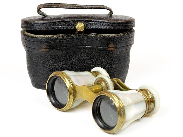 8: A MOTHER OF PEARL AND BRASS BINOCULAR marked Lamayre