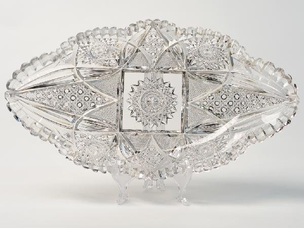 14: A CUT CRYSTAL ELONGATED SERVING DISH