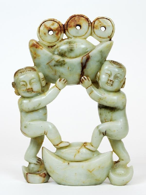 19: A JADE CARVING OF TWO FIGURES