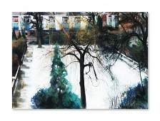 9: JOHN PLUMB, (British, 1927-2008), Snow Scene, Waterc