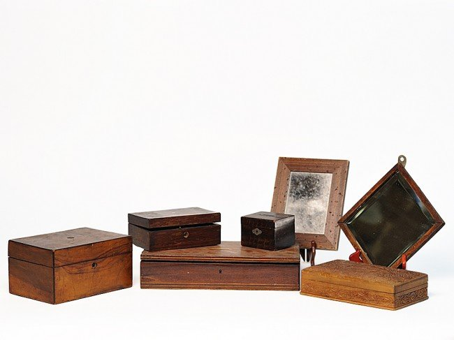 6: A GROUP OF FIVE ANTIQUE WOODEN BOXES AND TWO SMALL W