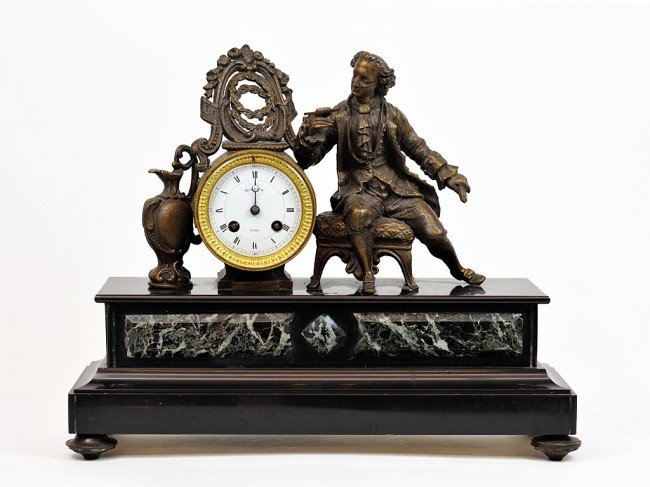 19: A FRENCH BRONZE AND MARBLE CLOCK France, Nineteenth