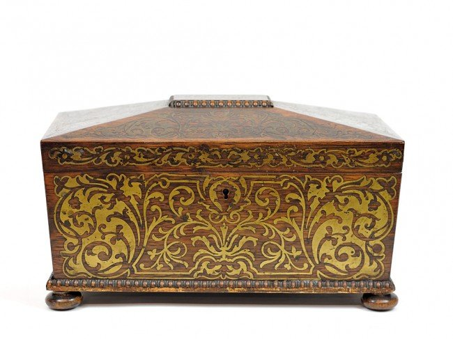 22: A ROSEWOOD BOX WITH BRASS INLAY, INTERIOR LIMOGES B