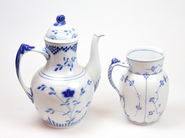 12: A DANISH PORCELAIN COVERED COFFEE POT AND PITCHER