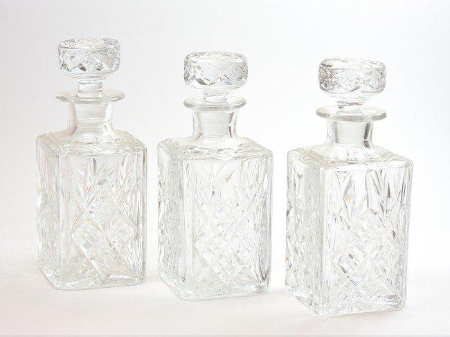 14: A GROUP OF THREE MATCHING CUT GLASS RECTANGULAR DEC