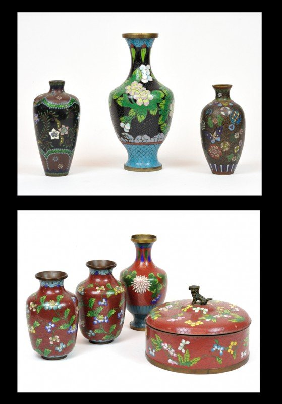 16: A COLLECTION OF THREE CHINESES CLOISONNE ON BRASS V