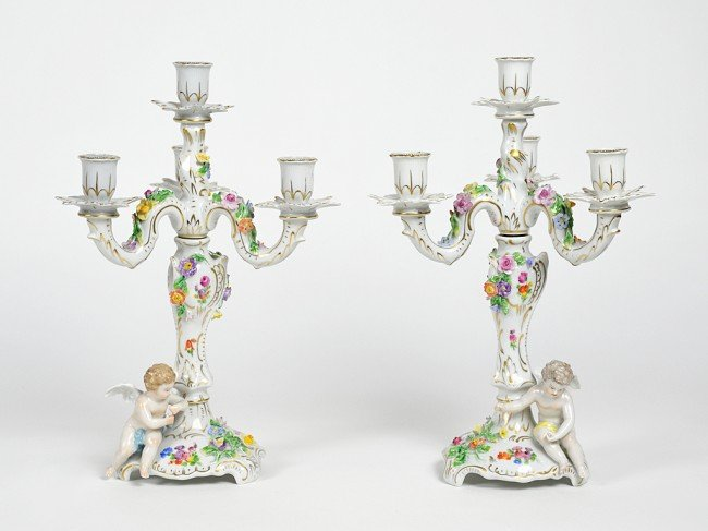 4: A PAIR OF DRESDEN FOUR LIGHT CANDELABRAS Circa 1940