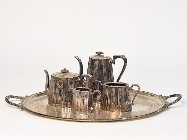 10: A FIVE PIECE SHEFFIELD TEA SERVICE