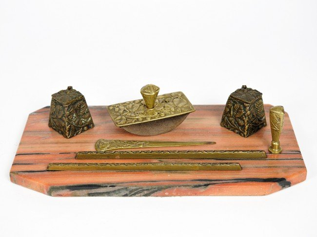 11: A BRASS AND MARBLE DESK SET