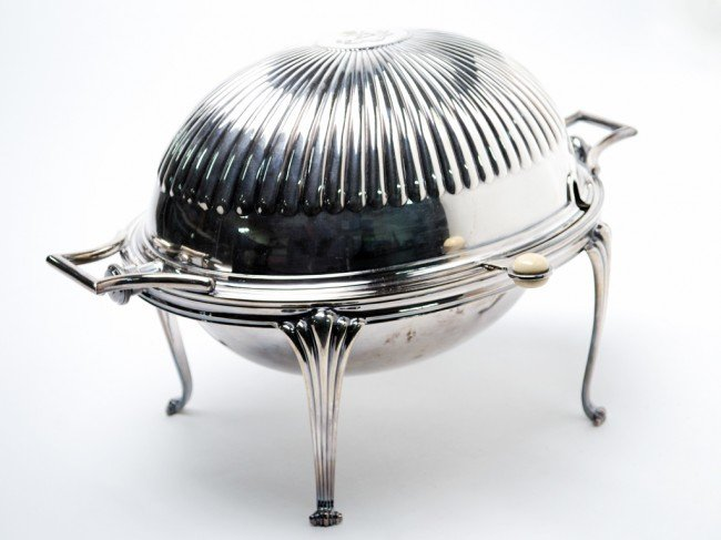 4: A SILVER PLATE OVAL SHAPED BACON WARMER WITH IVORY F