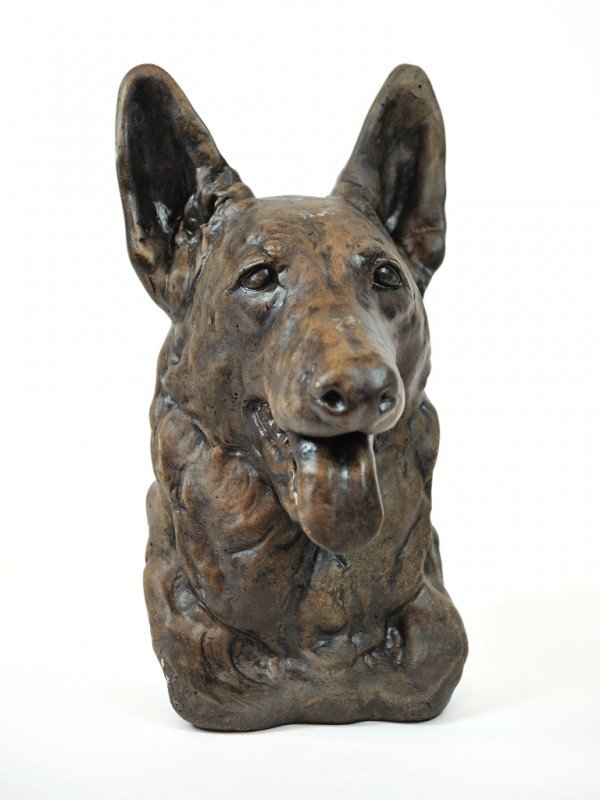 19: A PAINTED CONCRETE BUST OF A GERMAN SHEPHERD