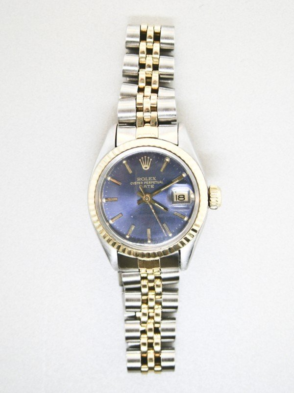 109: A LADIES 18K & STAINLESS OYSTER PERPETUAL DATE - C