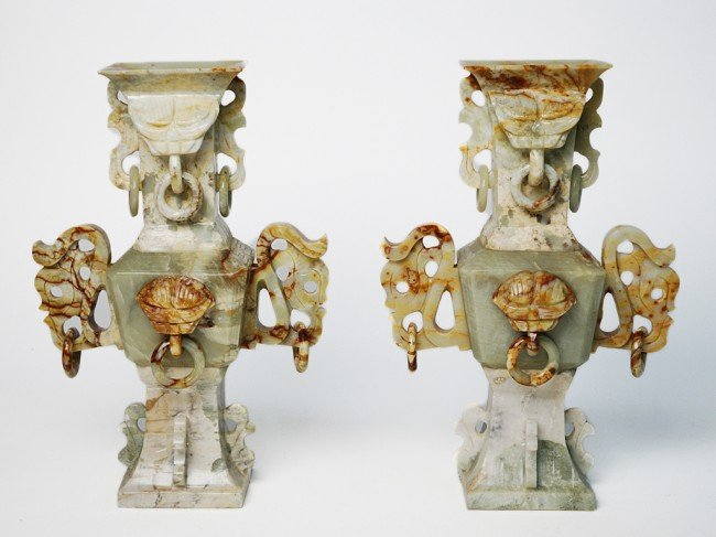 4: A PAIR OF CARVED JADE VASES