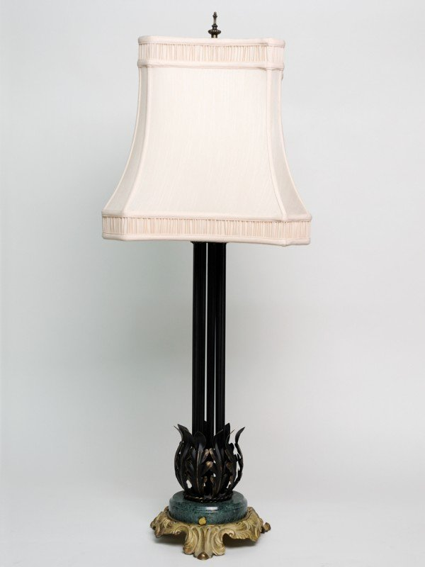 13: A TALL TABLE LAMP WITH GATHERED BLACK PAINTED BRONZ