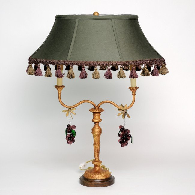 17: A TWO LIGHT TABLE LAMP WITH DANGLING DRAGON FLY AND