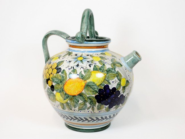 1: A PAINTED PORCELAIN WIDE BODIED JUG