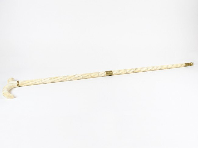6: AN IVORY OVERLAID RARE CEREMONIAL WALKING STICK
