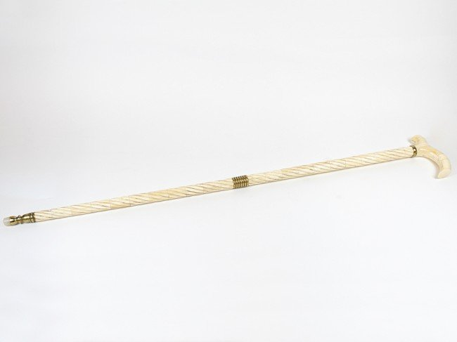 7: AN IVORY OVERLAID RARE CEREMONIAL WALKING STICK