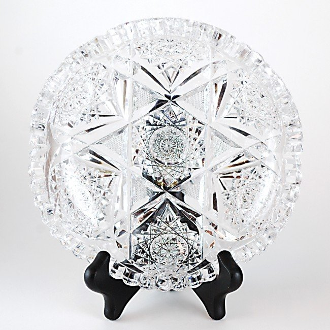 13: A RICH BRILLIANT CUT GLASS BONBON DISH, PROBABLY AT
