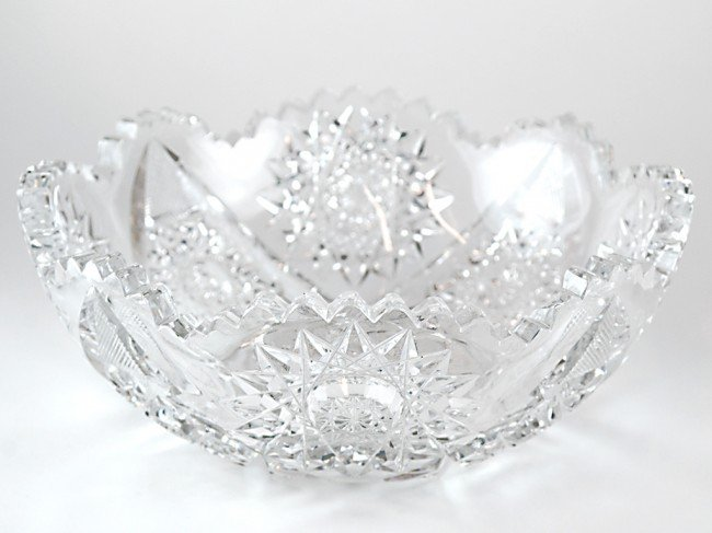 14: A J. HOARE & CO. OPULENT BRILLIANT CUT GLASS BERRY