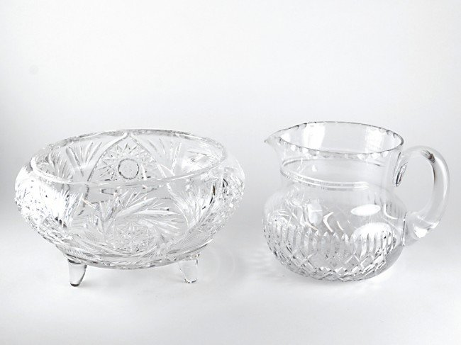 15: A TUDOR WATER JUG AND A CUT GLASS FRUIT BOWL Englan