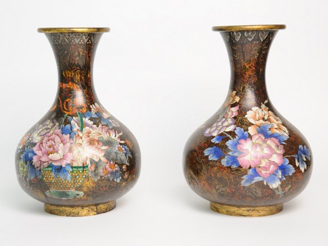 16: A PAIR OF CLOISONNÉ VASES France, Early Twentieth C