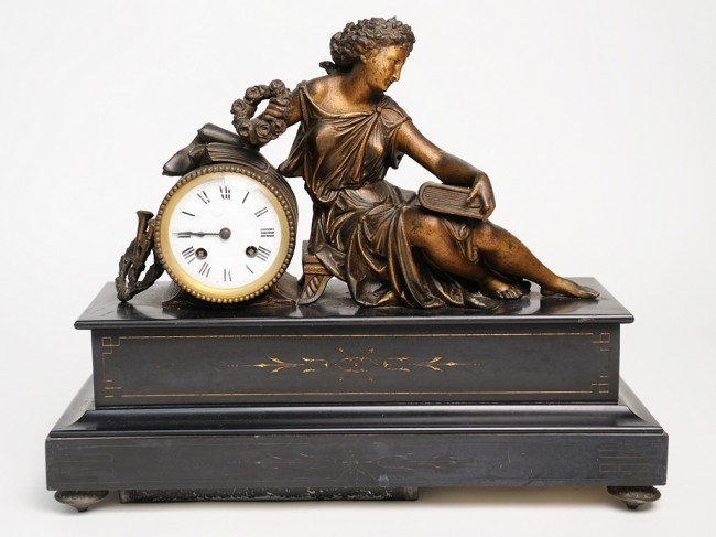 19: A REGULE FIGURAL CLOCK ON MARBLE BASE France, Ninet