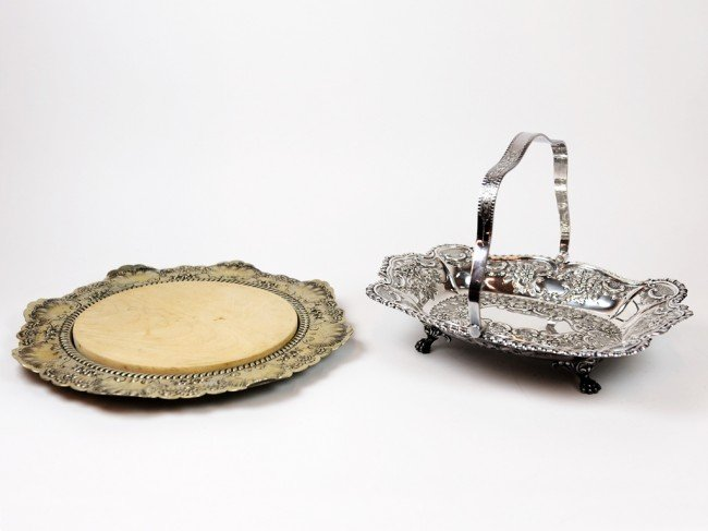 22: A SILVER PLATE CHEESE TRAY WITH WOODEN INSERT TOGET
