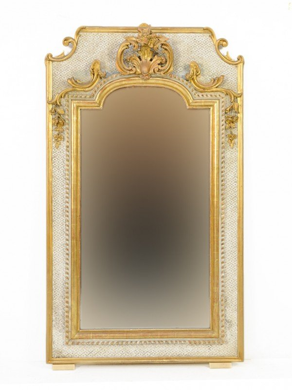 120: A FRENCH MIRROR WITH GILDED ACCENTS France, Mid Ni