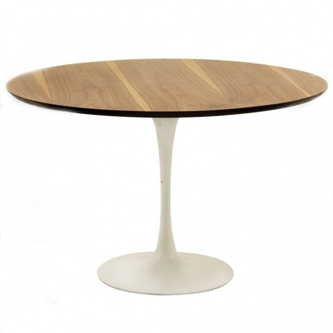 229: A TULIP TABLE WITH WALNUT TOP AND FOUR TULIP CHAIR