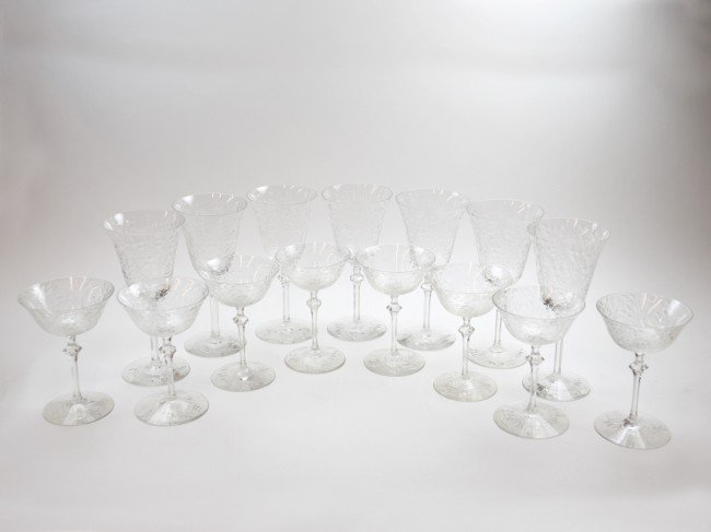 1: A SET OF SEVEN PIECES OF CUT GLASS WINE STEMWARE TOG