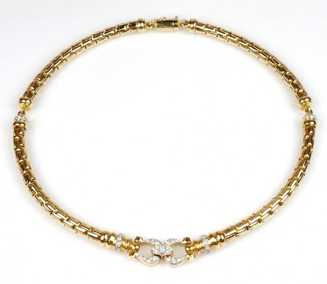 7: LADIES 14K YELLOW GOLD DIAMOND STIRRUP DESIGN NECKLA