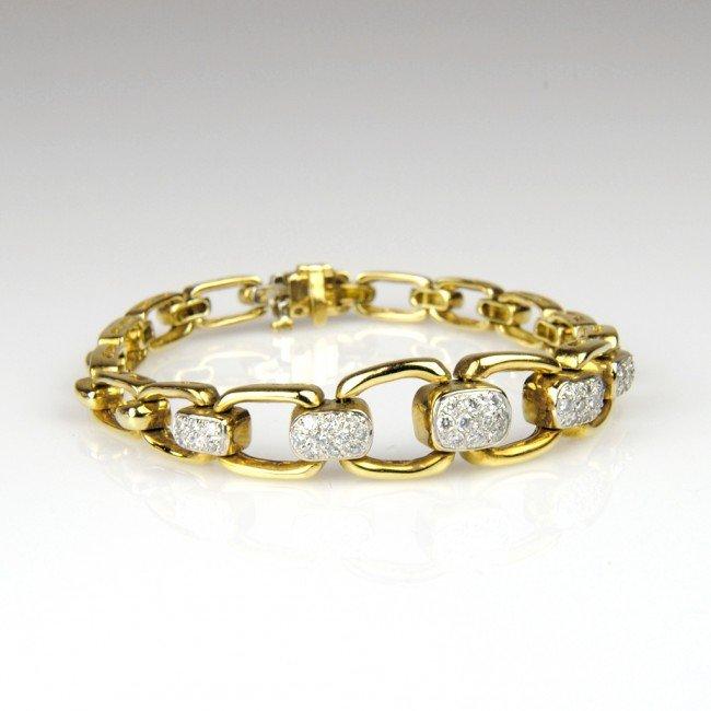 9: LADIES 18K YELLOW GOLD HIGH FASHION LINK BRACELET