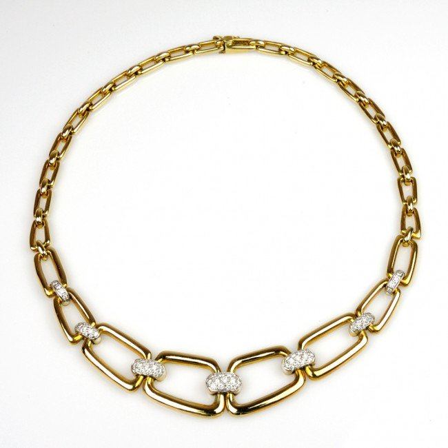 10: LADIES 18K YELLOW GOLD HIGH FASHION LINK NECKLACE