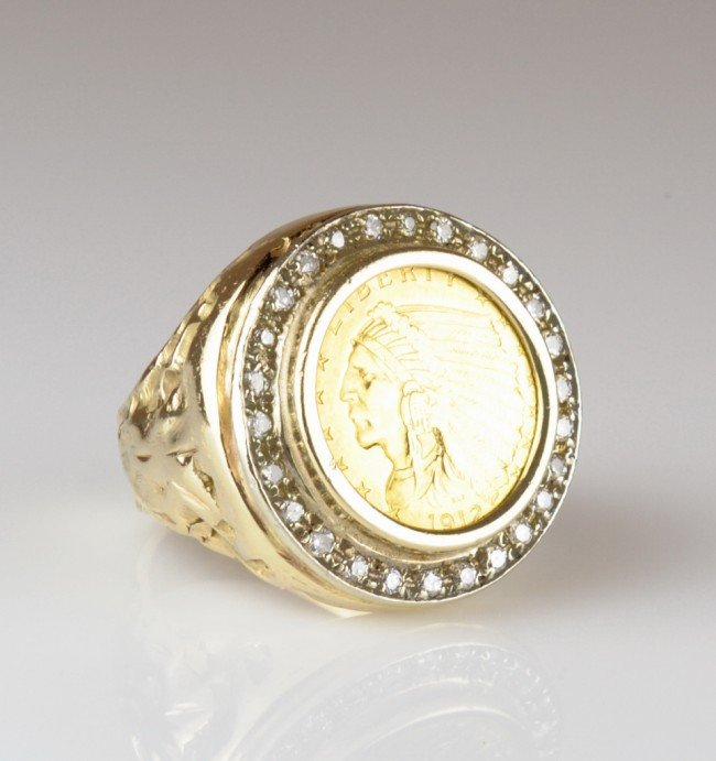 18: GENTLEMANS NUGGET STYLE DIAMOND COIN RING - Finger