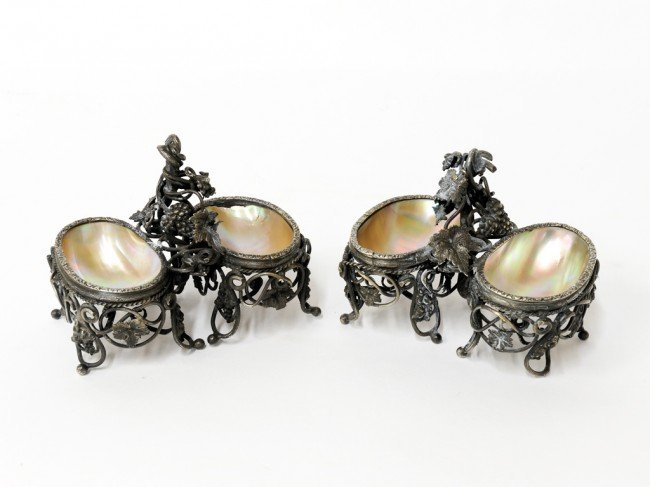 12: A PAIR OF ABALONE SHELL OPEN SALTS WITH INTRICATE S