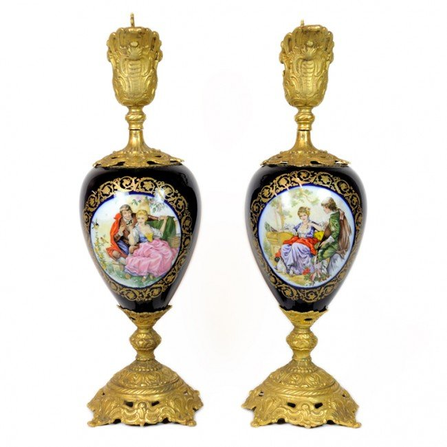 13: A PAIR OF COBALT LIMOGES URNS WITH GILT BRONZE ORMO