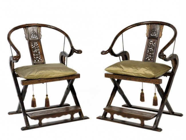 241: A PAIR OF VERY ELEGANT HUANGHUALI CHINESE ROUNDBAC