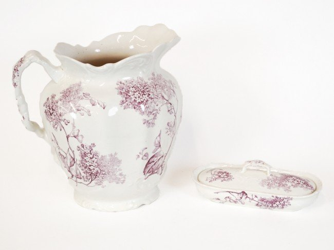8: A LILAC FURNIVAL'S CHINA WATER PITCHER AND LIDDED SO