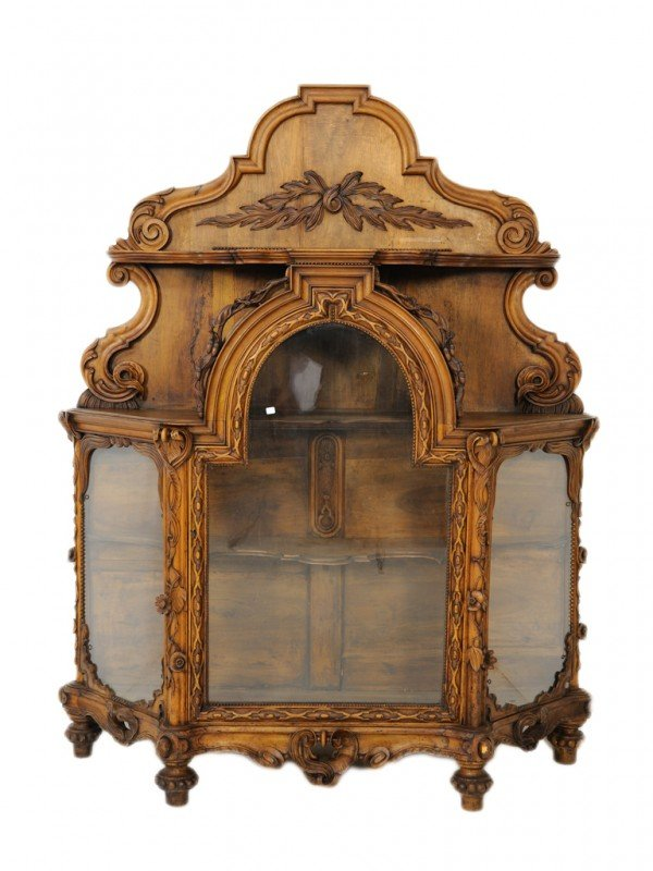 75: A LOUIS XIII WALNUT RELIEF CARVED VITRINE, French